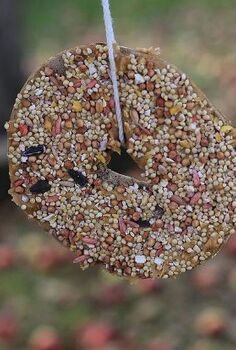 bagels to birdfeeders how to repurpose stale bagels, outdoor living, repurposing upcycling