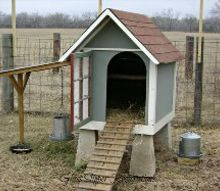 repurposed doghouse into a chicken coop, homesteading, repurposing upcycling, He built them a ladder for easier access
