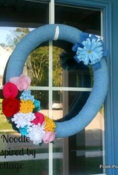 make a summer styrofoam wreath from a pool noodle, crafts, seasonal holiday decor, wreaths, I love how my denim and felt wreath brings a fresh and welcoming look to our door