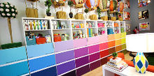 paint chip cabinet doors, craft rooms, kitchen cabinets, painting, storage ideas, Then I sent the digital files to muralsyourway com They created adhesive murals out of my artwork that fit each door perfectly