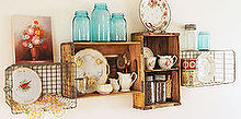vintage crate shelves decorating diy cottage style, home decor, shelving ideas, My intage soda crate and wire basket shelves