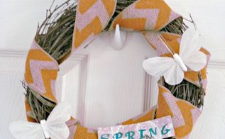 tweet chevron bird and butterfly spring wreath, crafts, seasonal holiday decor, wreaths, I currently have the wreath hanging in my home so I can enjoy it more