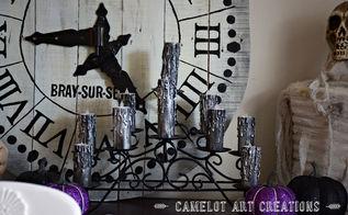 diy faux halloween candles, crafts, halloween decorations, seasonal holiday decor