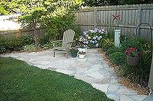 my secret garden, concrete masonry, outdoor living, flagstone patio connect to the shed area