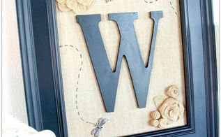 diy burlap flower monogram, crafts, Pretty dragonfly monogram with sweet burlap roses