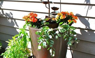 using a garage sale planter and a goodwill fountain in a new way, garages, gardening, My upscaled planter fountain on the deck