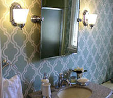 guest bathroom before after, bathroom ideas, home decor, The Wythe Blue background shows off the hand painted design in our guest bathroom