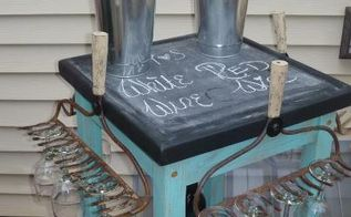 fun rolling wine cart made with vintage rakes amp an old butcher block table, repurposing upcycling, Rolling wine cart made with vintage rakes an old butcher block table
