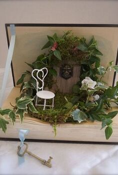 mini garden in a book, crafts, home decor, A mini garden in a book