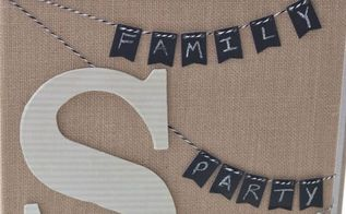 monogrammed burlap canvas and a pinterest party, chalkboard paint, crafts, decoupage, Monogrammed Burlap Canvas created using a Stretched Burlap Canvas Banner Kit Scrapbook paper Mod Podge and a stapler
