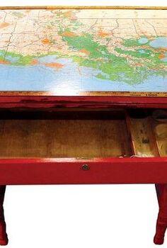 louisiana map amp yardstick overhauled writing desk, chalk paint, painted furniture, Louisiana Map Vintage Yardstick Overhauled Red Writing Desk by GadgetSponge com