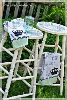 french style kitchen stools, chalk paint, painted furniture