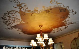 doing a decorative pattern on my dining room ceiling, painting, walls ceilings, After Here is the result