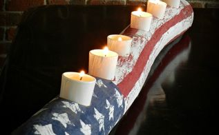 american flag log candle, crafts, patriotic decor ideas, seasonal holiday decor