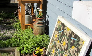 more outdoor garden junk decor, gardening, outdoor living, repurposing upcycling, The workbench is situated in a sedum creeping thyme bed