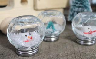 diy waterless snow globes, crafts, mason jars, seasonal holiday decor, These mini cruets make the cutest little snow globes
