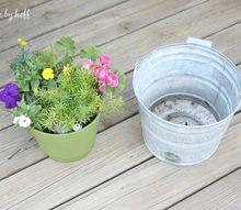 repurposed summer planters, flowers, gardening
