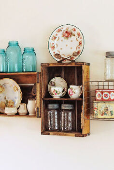 vintage crate shelves decorating diy cottage style, home decor, shelving ideas, My vintage soda crate and wire basket shelves