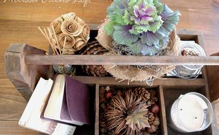 mini home tour, home decor, fall decor vintage toolbox on the coffee table