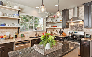 kitchen with open shelving, home decor, kitchen design, shelving ideas