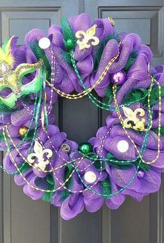 new year new wreaths, crafts, seasonal holiday decor, valentines day ideas, wreaths, This was a special order Mardi Gras wreath beads beads beads