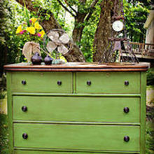 white and neglected craigslist dresser turned green beauty, chalk paint, home decor, painted furniture, Dresser transformed with home made chalk paint and Annie Sloan dark soft wax
