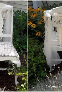 the brides chair a keepsake for my daughter, painted furniture, A special chair for her special day