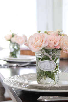 vintage style place setting bouquets, home decor
