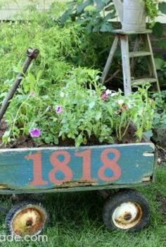 vintage wagon planter, gardening, repurposing upcycling, The Vintage Wagon makes a great addition to the front yard landscaping