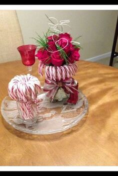 easy candy cane vase, christmas decorations, seasonal holiday decor, Finished Easy Candy Cane table center piece