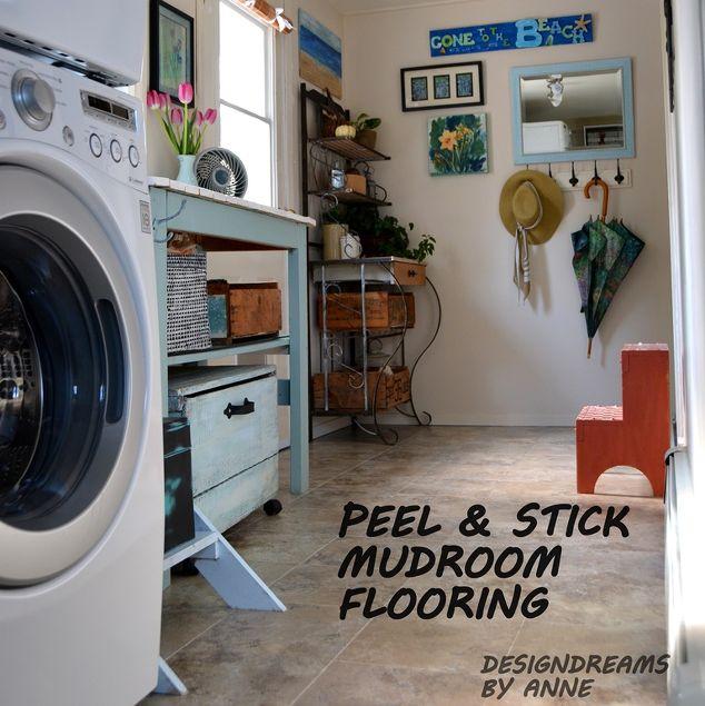 Easy Diy Floor Peel Stick Groutable Vinyl Tile Diy Flooring Laundry Rooms