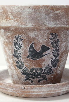diy aged pots with a transferred vintage image, gardening, painting, repurposing upcycling