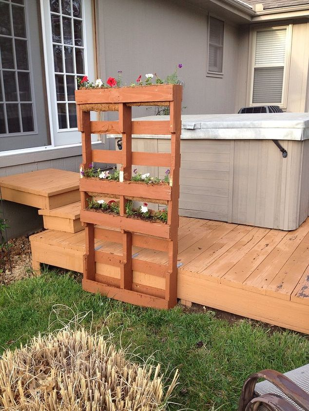 Pallet privacy living wall hometalk for Diy pallet privacy fence