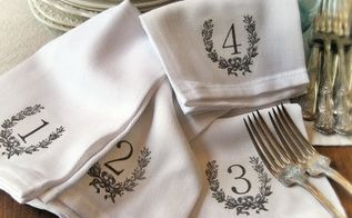 french farmhouse numbered napkins, crafts, home decor, wreaths, An iron on graphic add instant vintage frenchiness