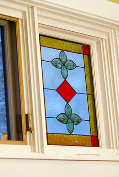 faux leaded glass window, windows, 1 Here s the before A faux stain glass window I created using Gallery Glass over a decade ago I used a hand steamer and scraper to remove the design I ll be honest it took some elbow grease