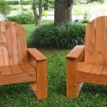back yard fire pit and chairs, diy, how to, outdoor furniture, outdoor living, painted furniture, rustic furniture, woodworking projects, Stained outdoor chairs