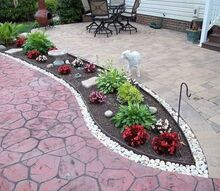 garden mulch beds mulch washing away drainage solution for patio, decks, landscape, outdoor living, patio, pool designs, After added metal edging and rocks to keep mulch from washing away
