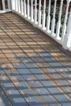 deck coating project with cemetitious paint blend coating fills in checked wood, decks, flooring, outdoor living, painting, Pressure washed loose material removed