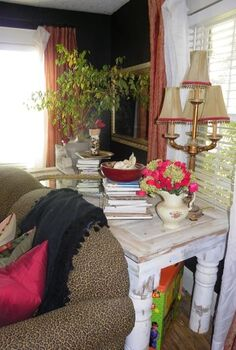 old door and porch posts re purposed into a table, home decor, porches