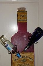 wine bottle shape i cut out and turned into a wine bottle holder, woodworking projects