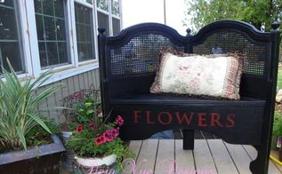 headboard turned garden bench, outdoor furniture, outdoor living, painted furniture, repurposing upcycling, By cutting the headboard in half and using some scrap plywood for the bench this headboard got a new life as a garden bench