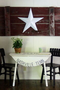farmhouse style with a cotton seed sack inspired table, painted furniture, Breakfast nook at The Shabby Creek Cottage