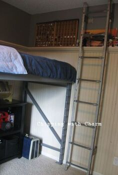 re purposed pallet racking to lofted bed little man cave, bedroom ideas, painted furniture, pallet, repurposing upcycling, A ladder from an old corn crib adds access and coolness