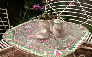 mosaic magic rescuing an old glass garden table, painted furniture, Glimmering glass pieces used to create glass mosaic
