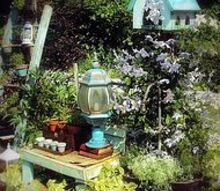 goose neck facet garden planter with my bird feeder, flowers, gardening, outdoor living, repurposing upcycling