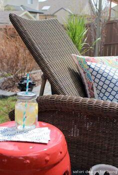 backyard lounging area, decks, outdoor furniture, outdoor living, painted furniture