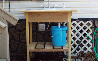 build an outdoor sink and connect it to the outdoor spigot, diy, outdoor living, plumbing, woodworking projects, The completed sink and stand