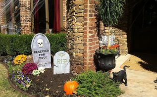 halloween decorating ideas home tour, halloween decorations, seasonal holiday d cor, wreaths, RIP tombstones and a vintage black cat