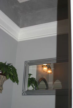 downstairs bath remodel, bathroom ideas, home improvement, High molding and uplighting