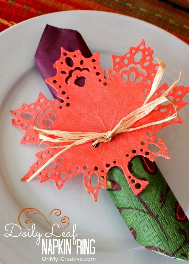 Fall Doily Leaf Napkin Ring Falldecor Givethanks Hometalk